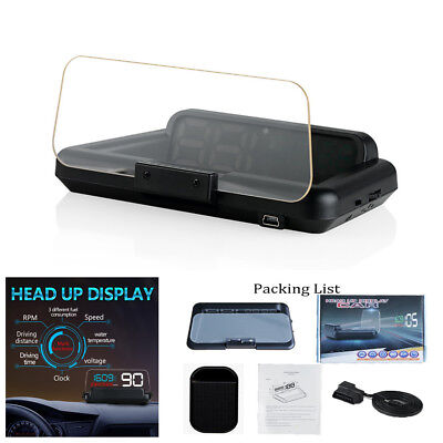 OBDII 2 Hud On-Board Computer LED Digital Car Truck Speedometer Head Up Display