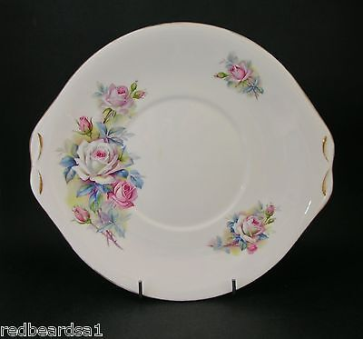 Queen Anne Pink White Roses Vintage English Bone China Cake Serving Plate 1960s