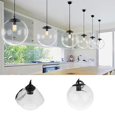 Modern Glass Clear Lampshade Ceiling Vintage Retro Chandelier Pendant Lamp Light