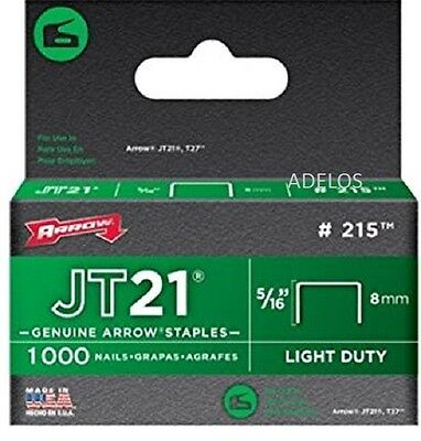 Arrow Fastener JT21 T27 8mm (5/16inch) Staples Box of 1000