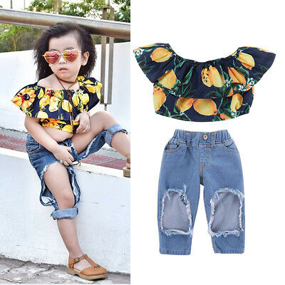 2PCS Toddler Kids Baby Girls T-shirt Tops+Ripped Pants Jeans Outfits Clothes Set