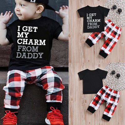 2Pcs Toddler Infant Kids Baby Boys Clothes T-shirt Tops+Plaid Pants Outfits Set