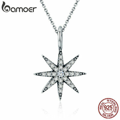 Bamoer Sparkling 925 Sterling silver Necklace With CZ Star Pendant Women Jewelry