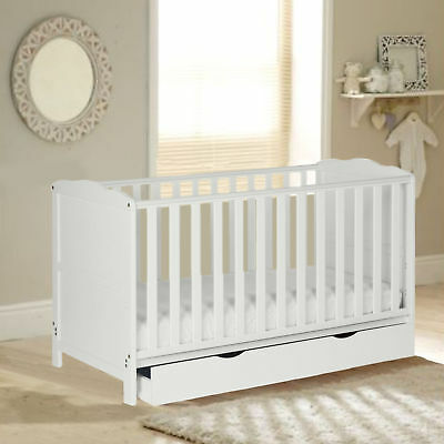 New 4Baby White Wood Classic Cotbed With Storage Drawer & Maxi Air Cool Mattress