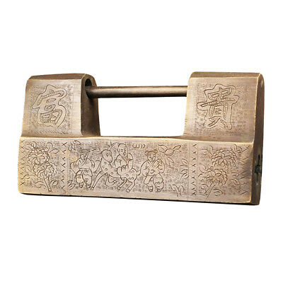 Chinese Vintage Antique Carved Word Lucky Padlock for Cabinet Box Game Locks