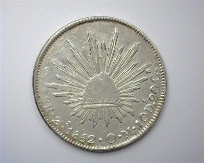 Mexico 1852-Zsom Silver 8 Reales  Near Choice Uncirculated