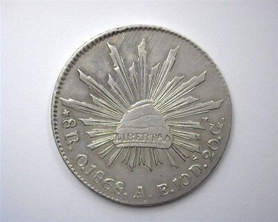 Mexico 1868-Oae Silver 8 Reales  Nearly Uncirculated