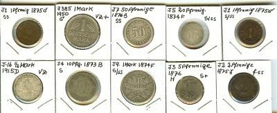 Germany 1873-1950 Mixed Denominations Group Of 10 Coins  Some Silver!