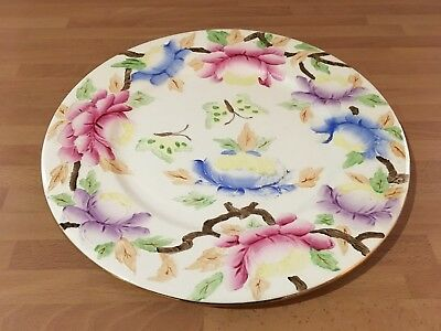 vintage maling 11.1/4ins charger / display plate flower butterfly pattern