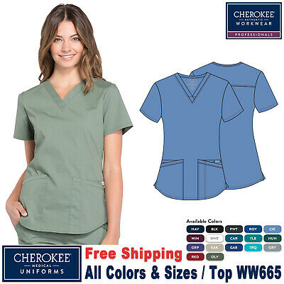 Cherokee Professional Women's Medical Scrub Uniform V-Neck Top + Free Gift