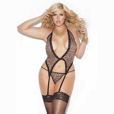 PLUS SIZE LINGERIE One Size Queen Leopard Deep V Camisette and G-String  EM8511Q