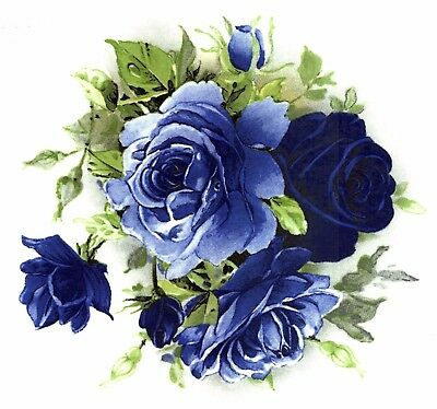 Midnight Blue Rose Centers Select-A-Size Waterslide Ceramic Decals Bx
