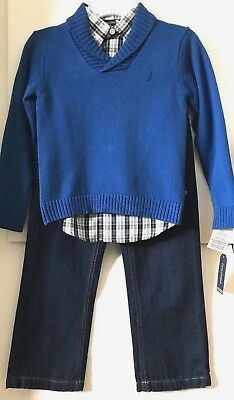 Little Boy/'s  Nautica N430G58Q Sweater and Denim Outfit Grey