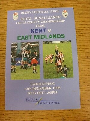 14/12/1996 Rugby Union Programme: Colts County Championship Final, Kent v East M