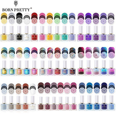 BORN PRETTY Nail Stamping Polish Black White Laser Holo Varnish 74Color