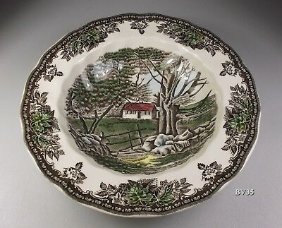 """JOHNSON BROTHERS the FRIENDLY VILLAGE 4 RIMMED SOUP BOWLS  8 5/8"""" 1883 ENGLAND"""