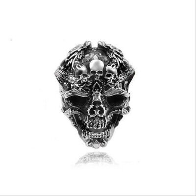 Vintage Silver Skull Ring Men Punk Rock Many Skeletons Gothic Halloween Jewelry