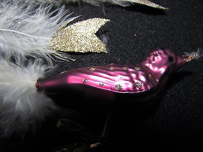 W Germany Blown Glass Bird Purple vtg Long Feather Tail Christmas Ornament Clip