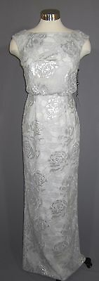 4744b7d3f32c7 2 ADRIANNA PAPELL Silver Sequin Embroidered Tulle Cap Sleeve Blouson Gown  NWT
