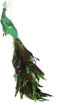 """Mark Roberts 19"""" Peacock Emerald Green Closed-Tail Bird Clip-On Christmas Or"""