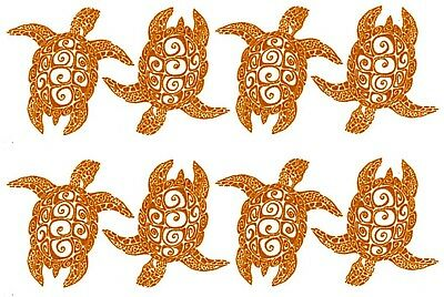 "8 Sea Turtle Seaturtle 1"" Gold Fused Glass Decals 18CC991"