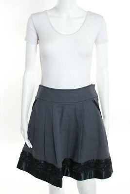 Marc Jacobs Gray Cotton Pleated Beaded Hem A Line Skirt Size 6