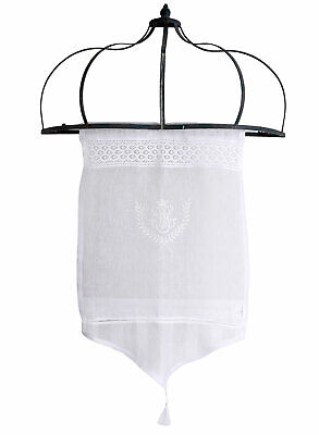 RIDEAUX COURTS STYLE Maison de Campagne Blanc Bistrot Toile Broderie ...