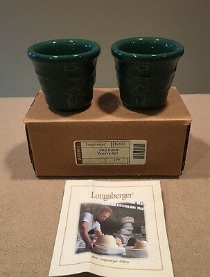 NIB Longaberger Pottery Two-Piece Votive Set Ivy Green