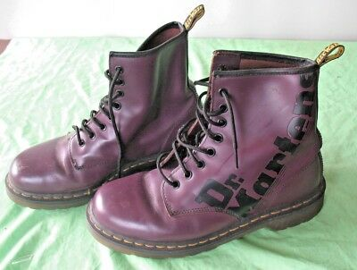 Pair of Purple signed Airwair Dr Martens boots 8 hole lace up size 8 UK 42 EU
