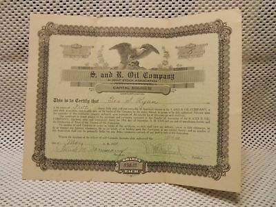 1920 S And R Oil Company Stock Certificate