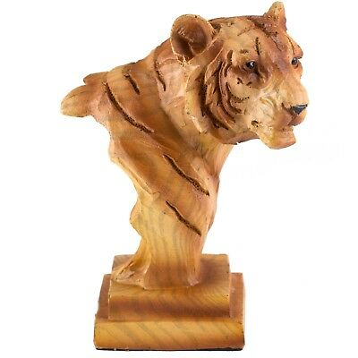 "Small Tiger Head Bust Faux Carved Wood Look Figurine Resin 3.5"" High New!"