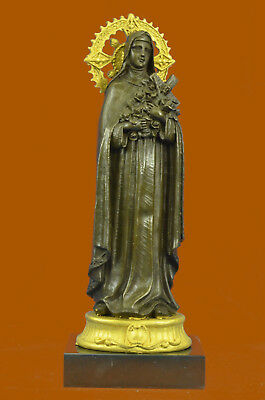 Bronze statue of the Virgin Mary Clutching a Cross Hot Cast Classic Artwork Bs