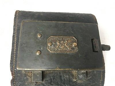 A green's patent No unknown antique sprung brass lock leather cash tic tac bag ?