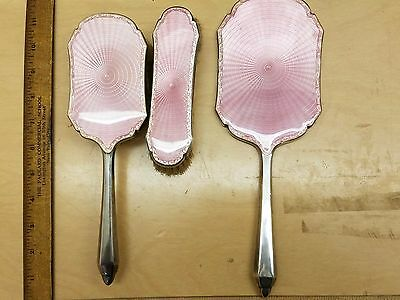 Antique English sterling silver dresser set vanity enamel pink Guillouche enamel