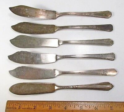 Vintage 6pc All Different USA Made Art Deco Silverplate Butter Knives Spreaders