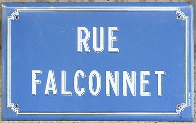 Old blue French enamel street sign plaque road name plate Falconnet Avion Lens