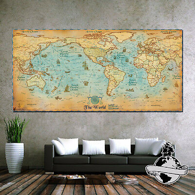 Huge large banner canvas Vintage navigation Pirate Retro World Map Poster