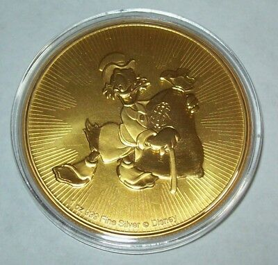 2018 Niue Disney Scrooge McDuck 24K Gold Gilded 1 Oz .999 Fine Silver $2 Coin
