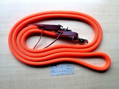 "ORANGE Yacht Rope Loop Reins Leathers Snaps 8' x 9/16"" Trail Roping Barrel Hunt"