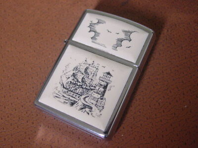 Vintage Zippo Scrimshaw Lighter ..... Sailing Ship