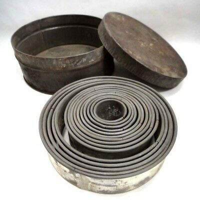 1800s antique victorian 15pc PASTRY, COOKIE,CAKE CUTTER TIN w/CANNISTER dark lot