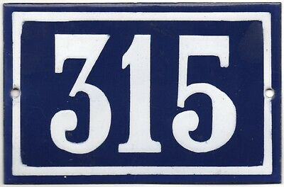 Old blue French house number 315 door gate plate plaque enamel steel metal sign