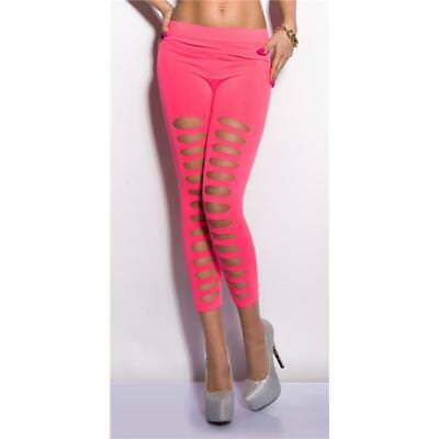 Sexy 7/8 Leggings Mit Cut-Outs Gogo Clubwear Neon Pink 34/36/38 #h955
