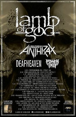 Lamb Of God / Anthrax / Deafheaven / Power Trip 2016 U.s.a. Concert Tour Poster