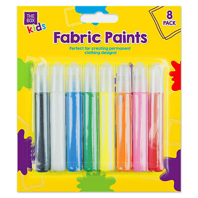 16x PERMANENT COLOURED FABRIC PAINT PENS Kids Art Craft Fine Nozzle Clothes Shoe