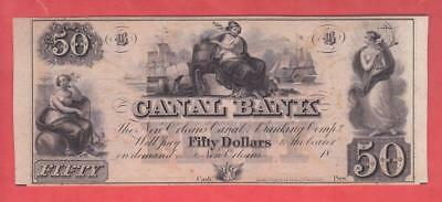 """18xx $50 BEAUTIFUL UNC New Orleans """"Canal Bank"""" Obsolete!        x3a"""