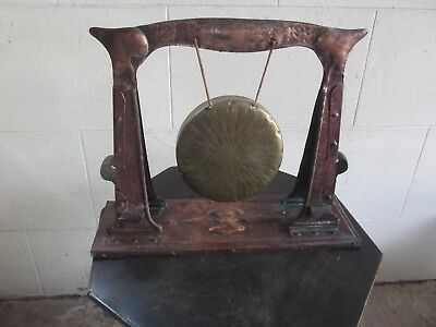 Antique Arts and Crafts J & F Pool Hayle Copper Dinner Gong - Nouveau