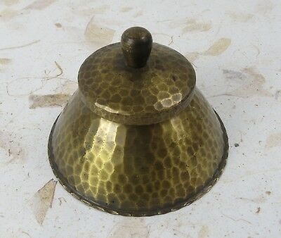 Antique Roycroft Hand Hammered Ink Well with Glass Insert