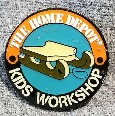 LMH PINBACK Pin HOME DEPOT Kids Workshop SNOW SLED Ski Pull Behind Wagon Tote 1""