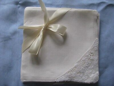 """Vtg Linen And Lace Napkins Set Of 10 Ecru Hand Done Lace Cleaned 171/2"""" Ex. Cond"""